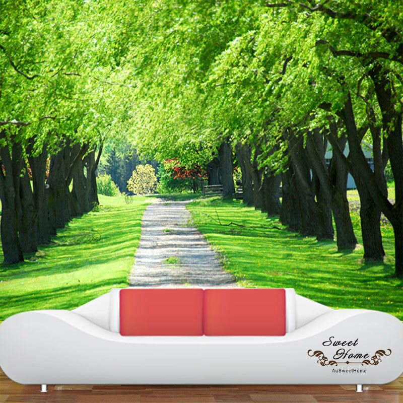 Spring woodland path full wall mural decal print wallpaper for Home wallpaper ebay