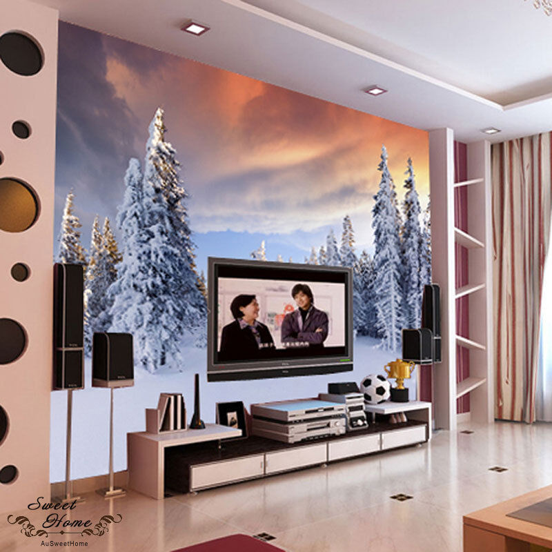 Snowy forest landscapes full wall mural decal print for Home wallpaper ebay