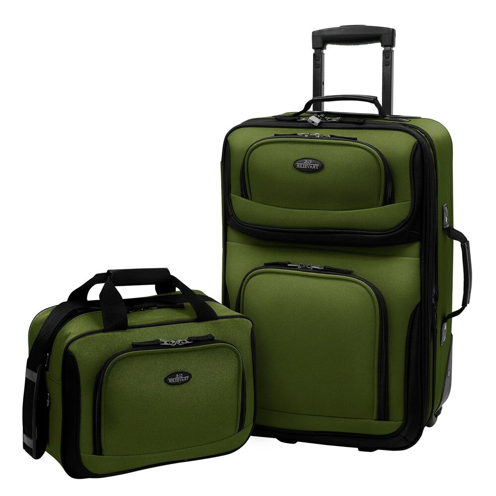 us traveler green rio 2 piece carry on expandable rolling. Black Bedroom Furniture Sets. Home Design Ideas