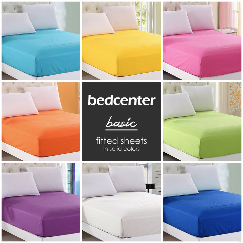 solid color fitted sheet twin full queen king 100 cotton 21 colors bed sheet ebay. Black Bedroom Furniture Sets. Home Design Ideas