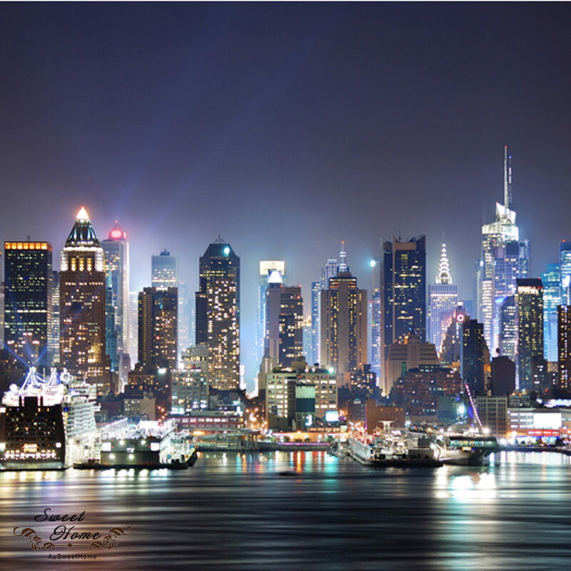 new york city night skyline full wall mural huge print. Black Bedroom Furniture Sets. Home Design Ideas