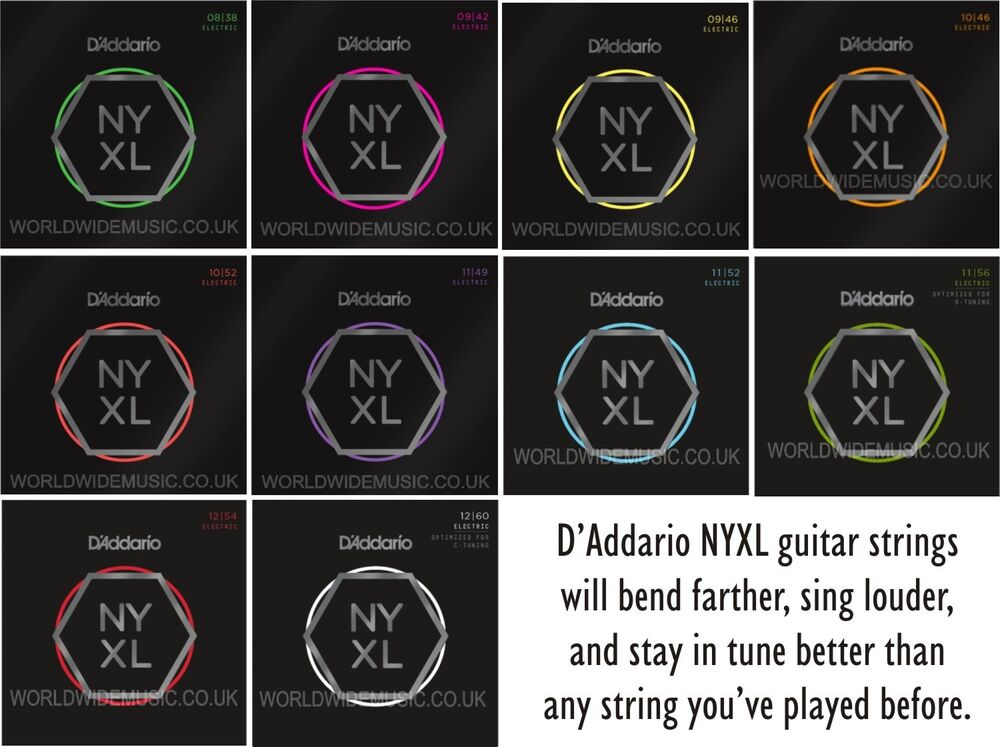 d 39 addario nyxl nickel wound electric guitar strings with a choice of 15 gauges ebay. Black Bedroom Furniture Sets. Home Design Ideas