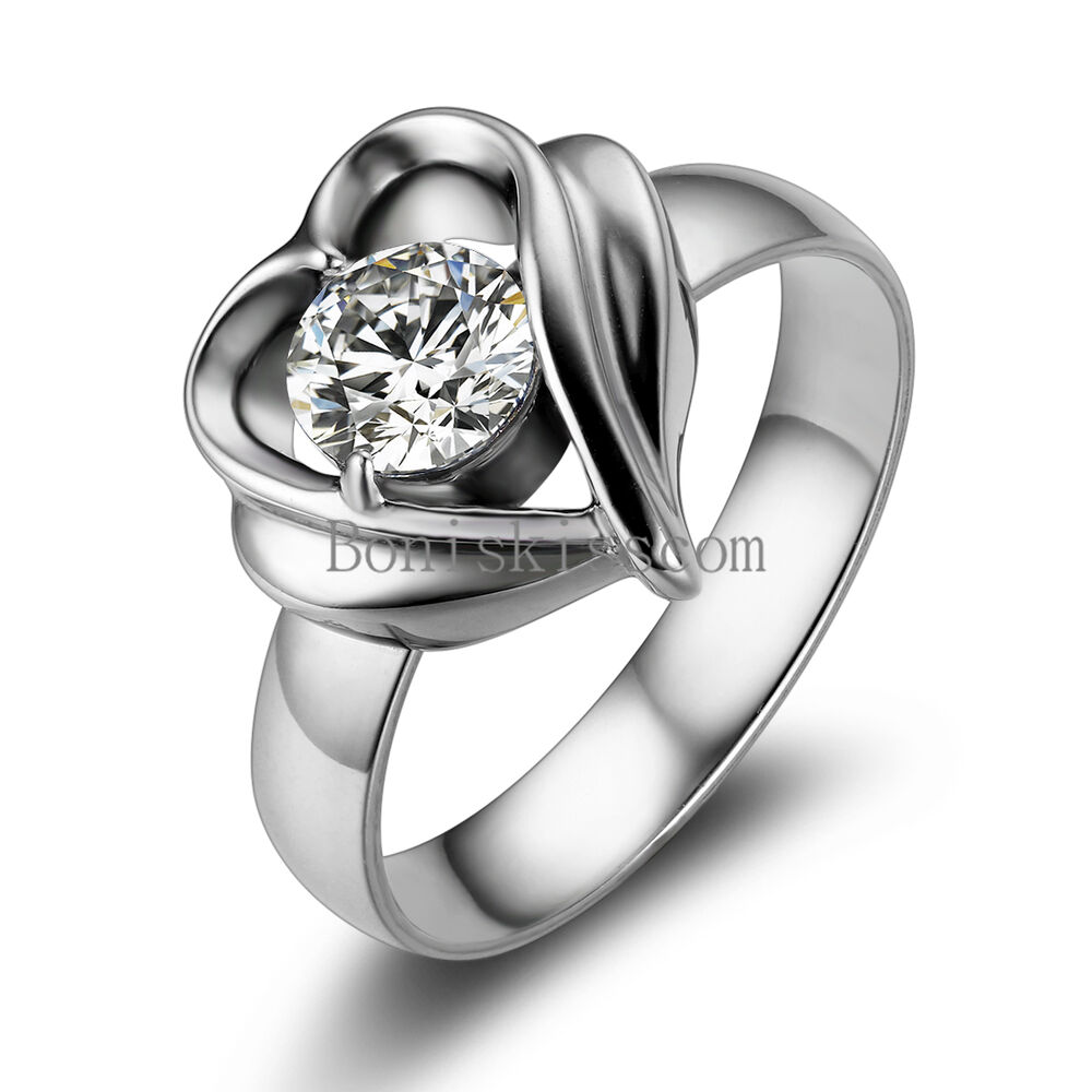 Silver Stainless Steel Open Heart Round CZ Ladies Womens ...