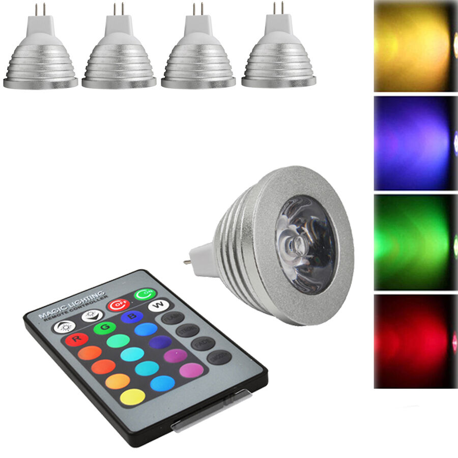 4x 3w farbig rgb mr16 led gl hbirne strahler lampe ir fernbedienung dimmbar ebay. Black Bedroom Furniture Sets. Home Design Ideas