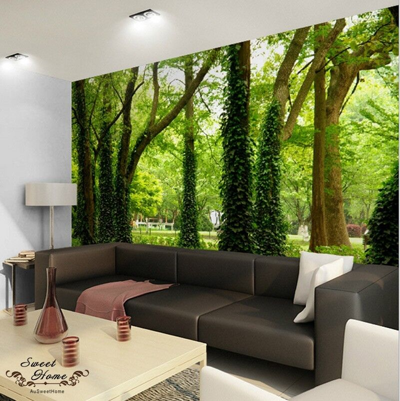 Green forest nature landscape wall paper wall print decal for Wallpaper of home wall