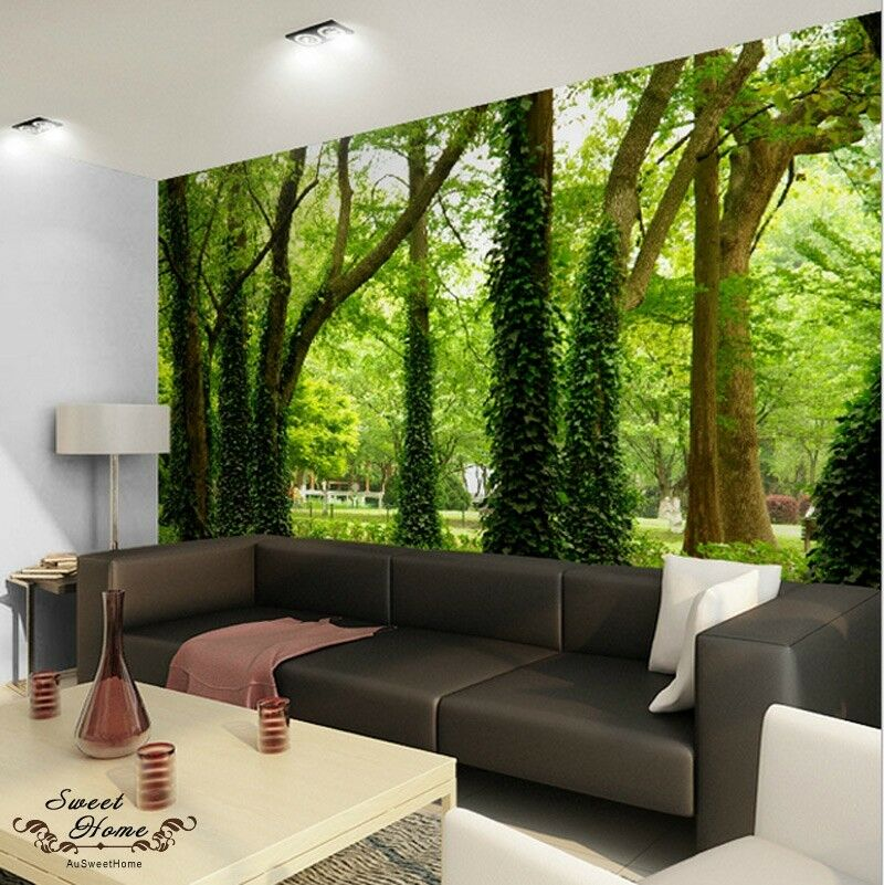 Green forest nature landscape wall paper wall print decal for Wall to wall wallpaper