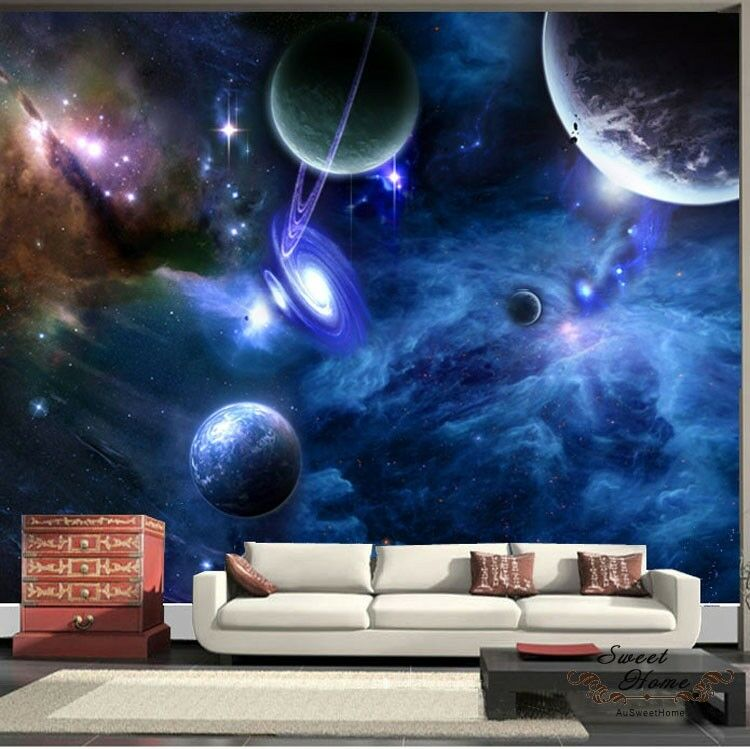 universe planet space full wall mural print decal. Black Bedroom Furniture Sets. Home Design Ideas