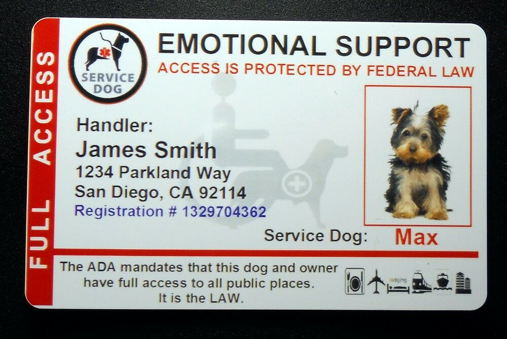 Emotional support animal patches id cards