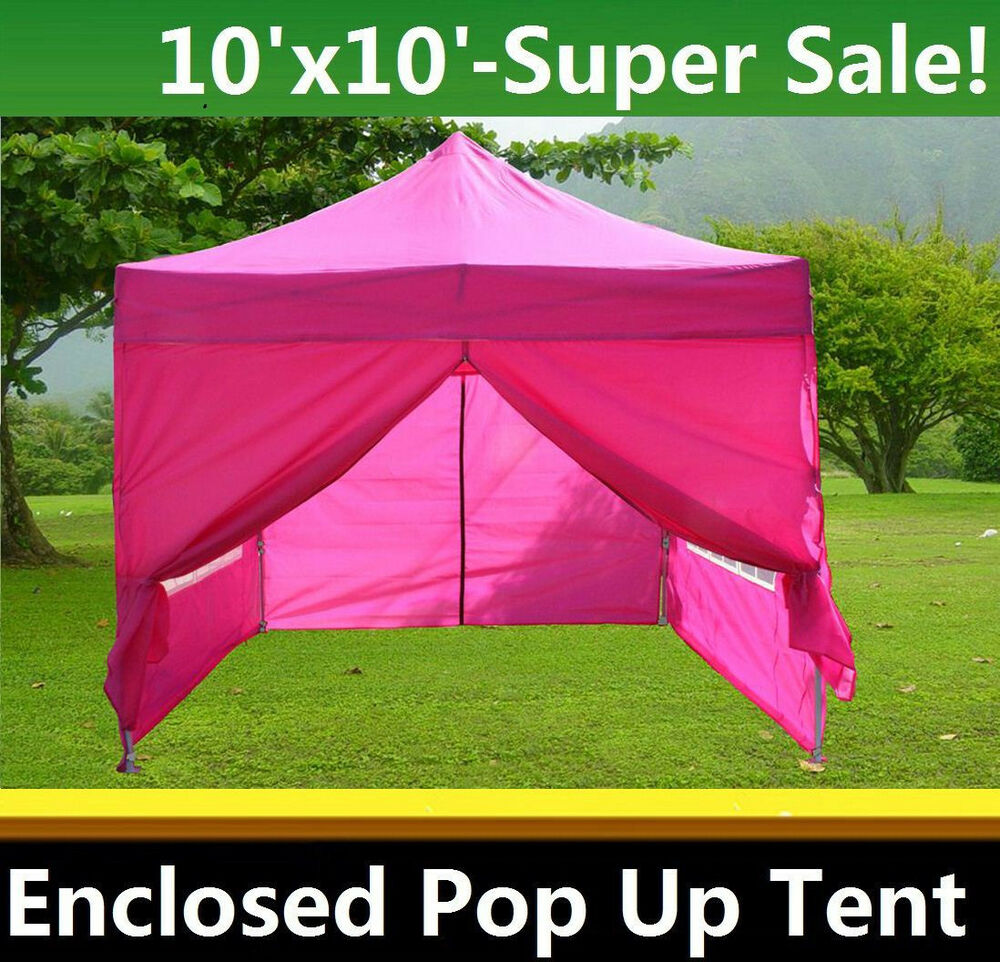 10 x10 enclosed pop up canopy party folding tent gazebo pink e