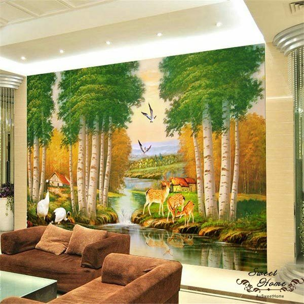 Deer creek landscape full wall mural wall print decal for Digital print wallpaper mural