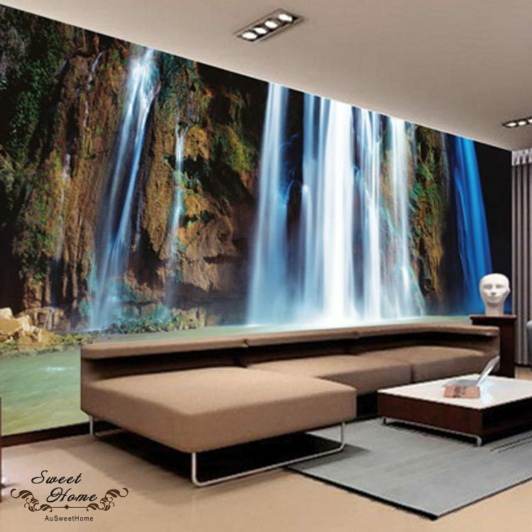 Natural waterfall rock full wall mural large wall print for Big wallpaper for wall