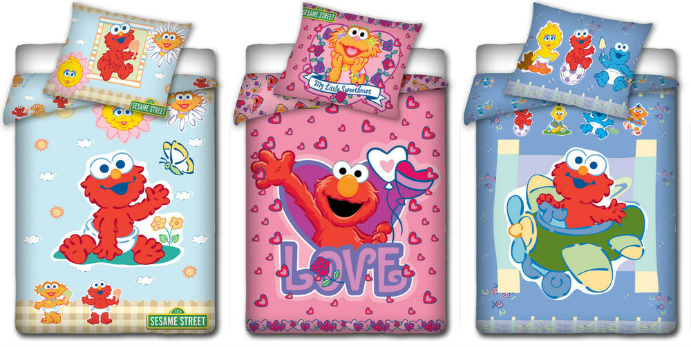 sesame street kinderbettw sche sesamstrasse babybettw sche 100 x 135 cm ebay. Black Bedroom Furniture Sets. Home Design Ideas