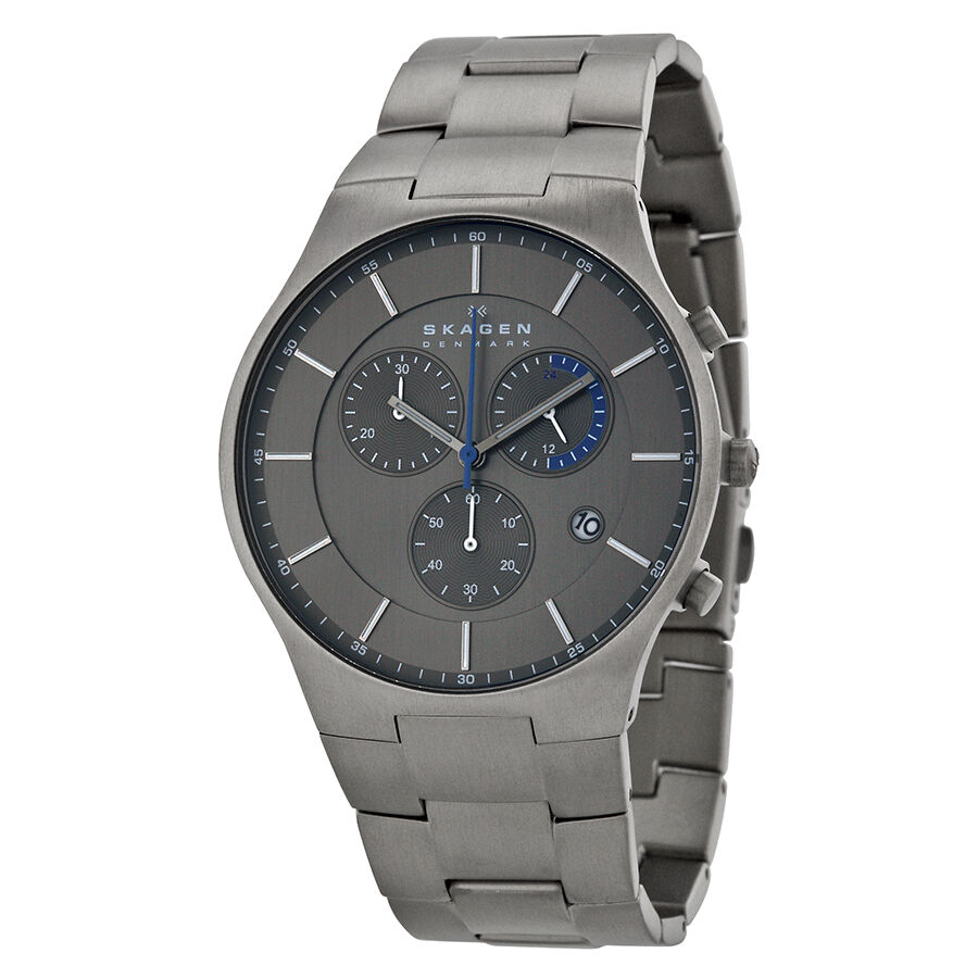 Skagen balder chronograph grey dial titanium bracelet mens watch skw6077 768680198461 ebay for Titanium watches
