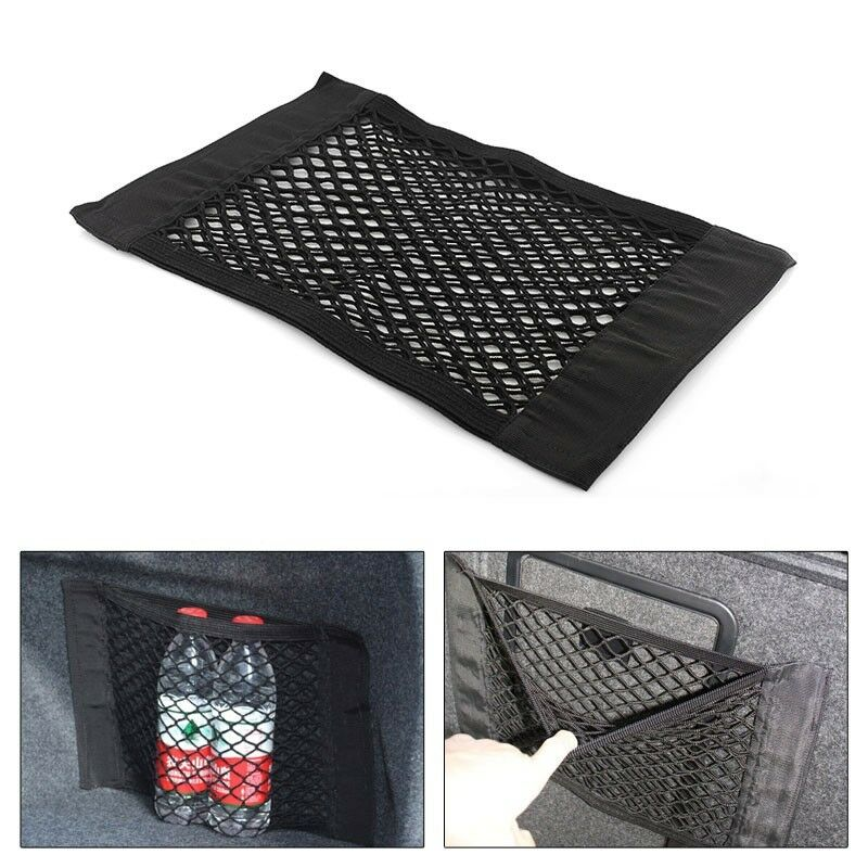 new nylon car suv truck seat rear pocket cargo trunk storage net bag magic tape ebay. Black Bedroom Furniture Sets. Home Design Ideas