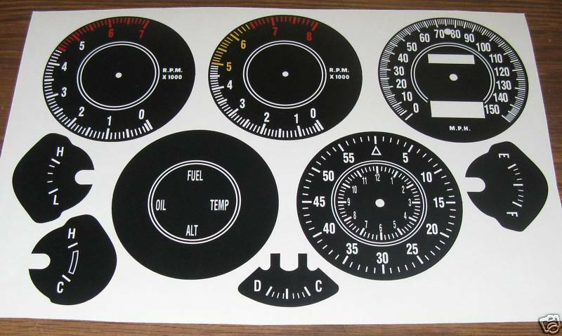 1970 74 cuda or challenger rally gauge decals ebay for Telephone mural 1970