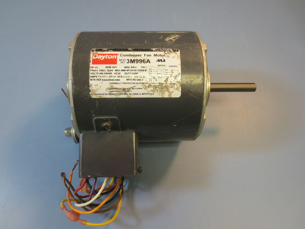 Dayton 1 3 hp single phase 1075 rpm condenser fan motor for 1 3 hp motor
