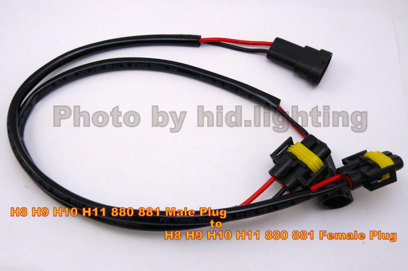 2x h8 h9 h10 h11 881 hid power wire cable harness plug. Black Bedroom Furniture Sets. Home Design Ideas