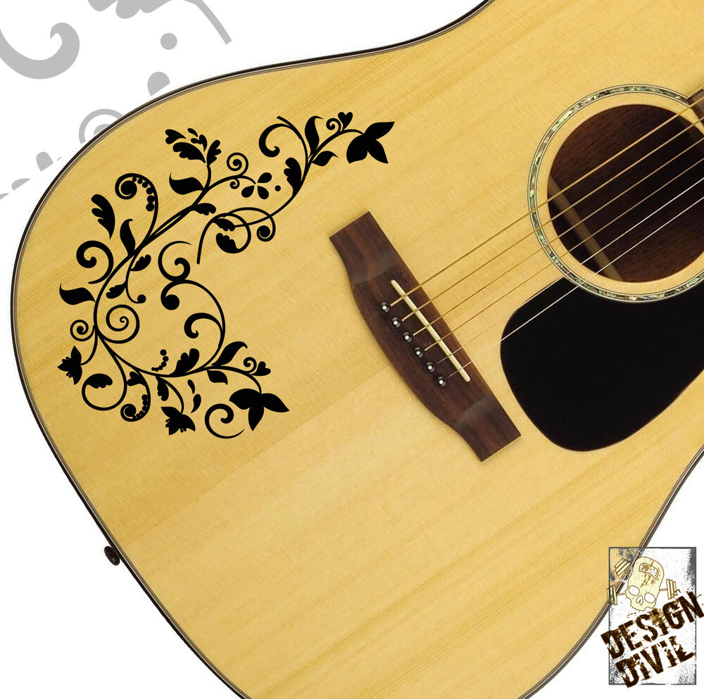 the vine swirl quality vinyl tattoo decal for acoustic electric bass guitars ebay. Black Bedroom Furniture Sets. Home Design Ideas
