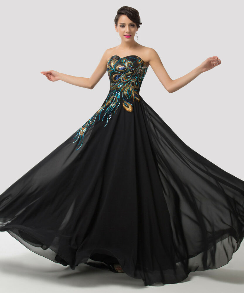 Formal Gowns: Plus Size Peacock Long Strapless Bridesmaid Formal