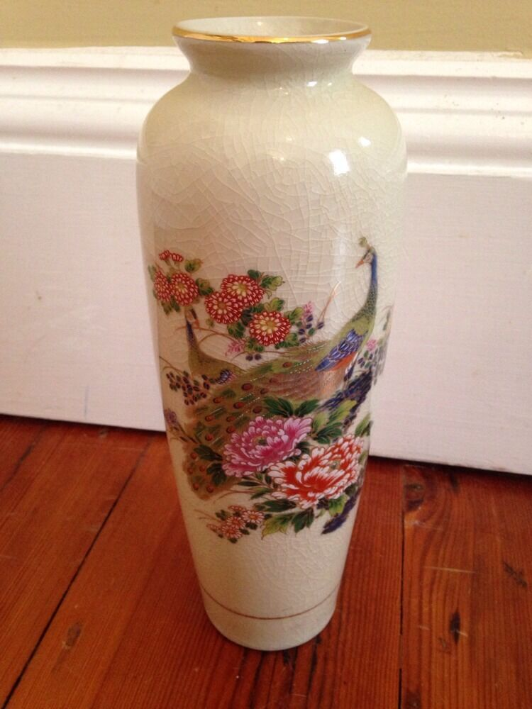 Signed Mci Japan Peacock Crackle Glaze 10 5 Quot Vase Vintage Ebay