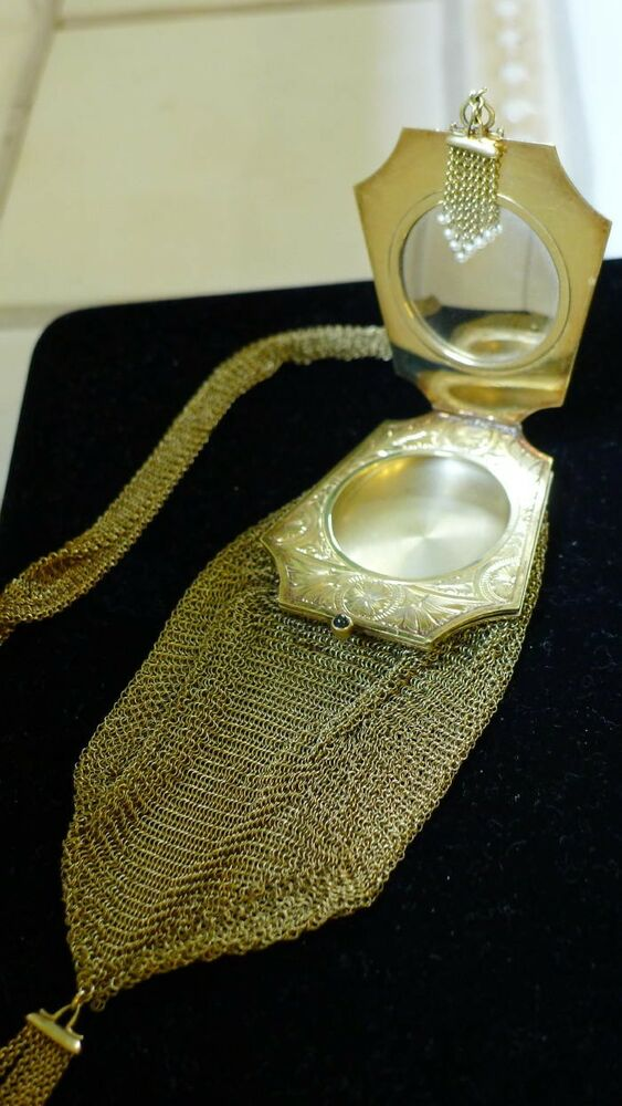 Gold Mesh Purse 14k Vanity With Compact Antique Edwardian