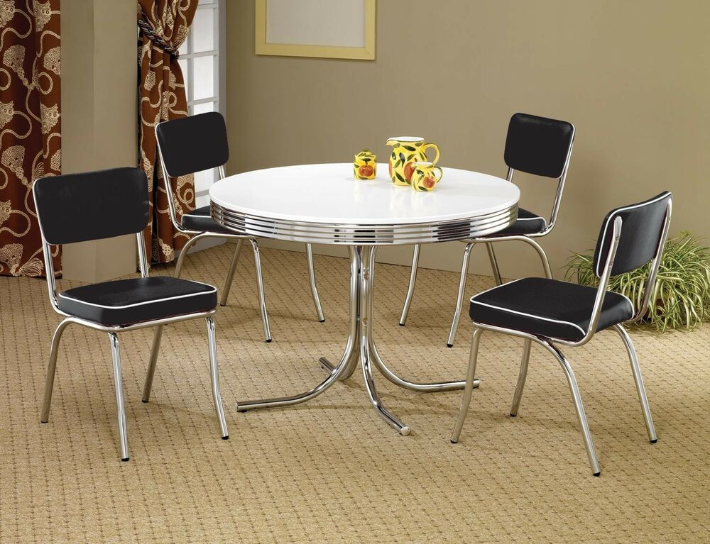 1950s style chrome retro dining table set black chairs for Dinette sets with bench seating