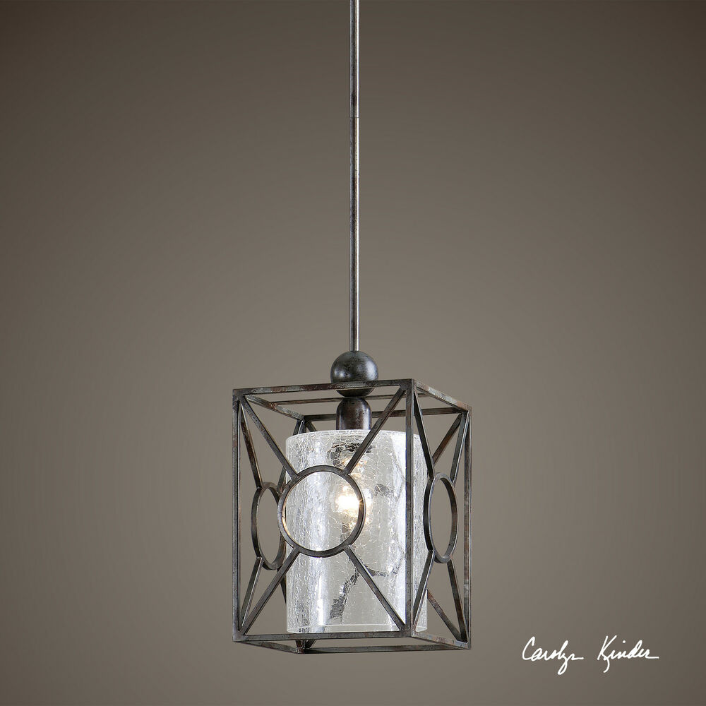 AGED BLACK METAL FINISH MINI HANGING PENDANT LIGHT FIXTURE