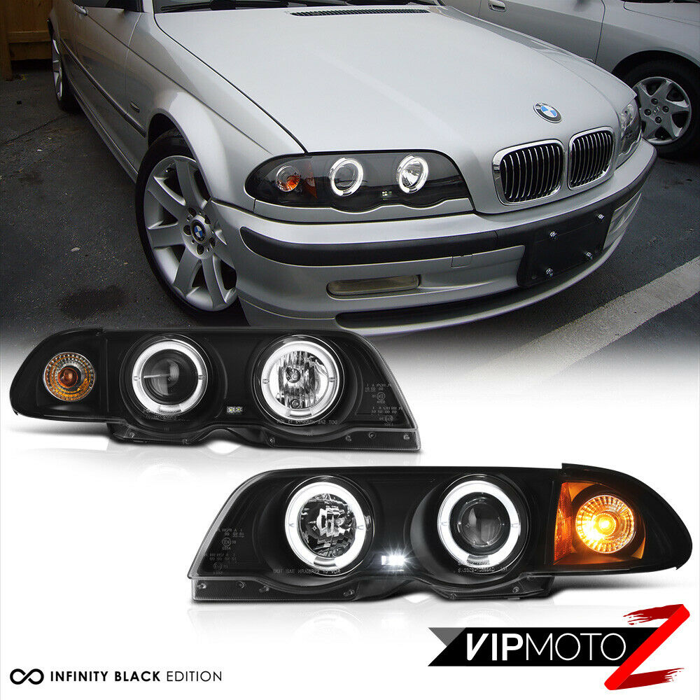 99 01 bmw e46 323 325 328 3 series 4dr black halo angel eye projector headlight ebay. Black Bedroom Furniture Sets. Home Design Ideas