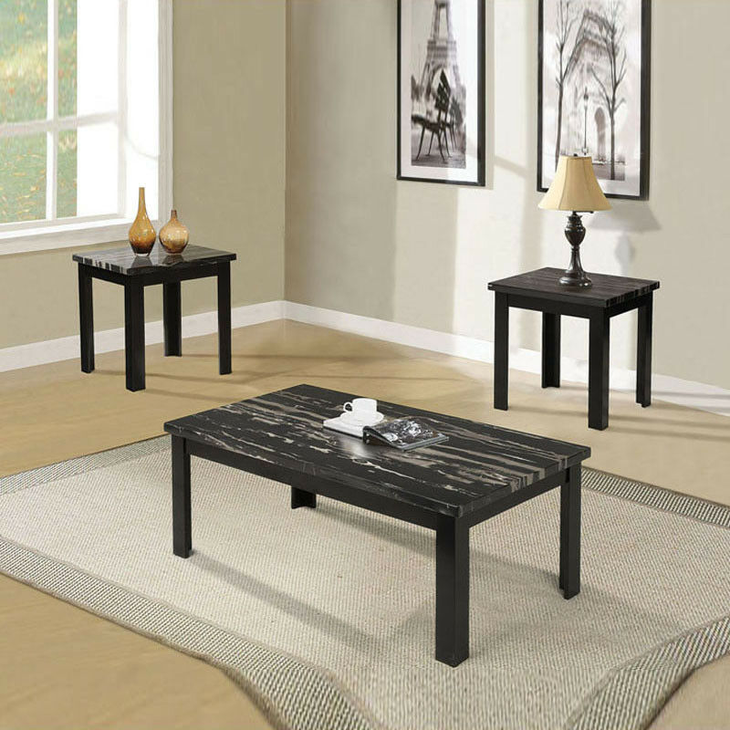Oval Glass Coffee Table 3 Piece Set Furniture Home Decor: 3 PC Wooden Block Legs Black Faux Marble Top Coffee End