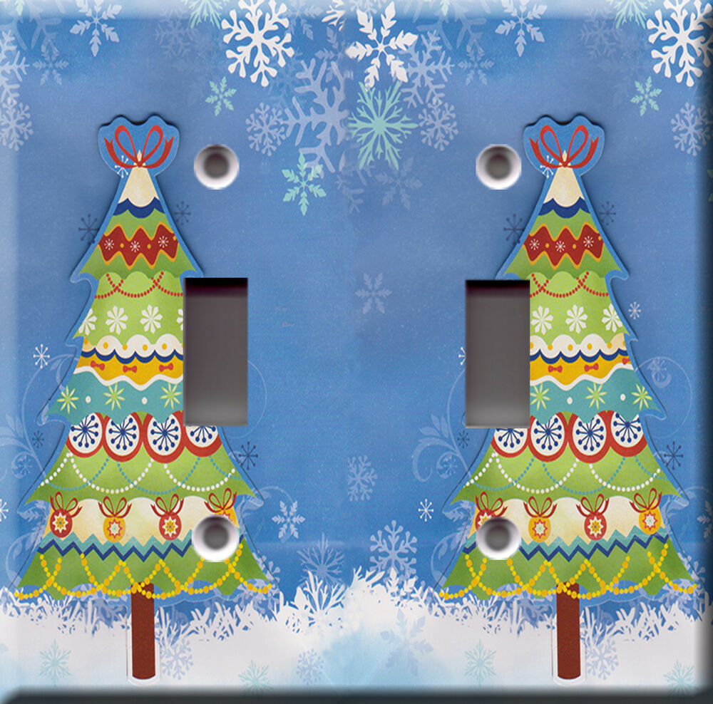 Light switch plate cover christmas tree winter snow