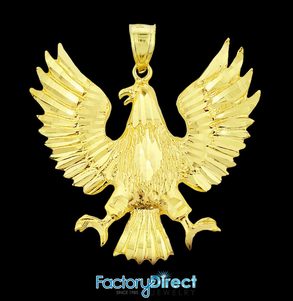 Solid gold polish american eagle pendant ebay for What is gold polished jewelry