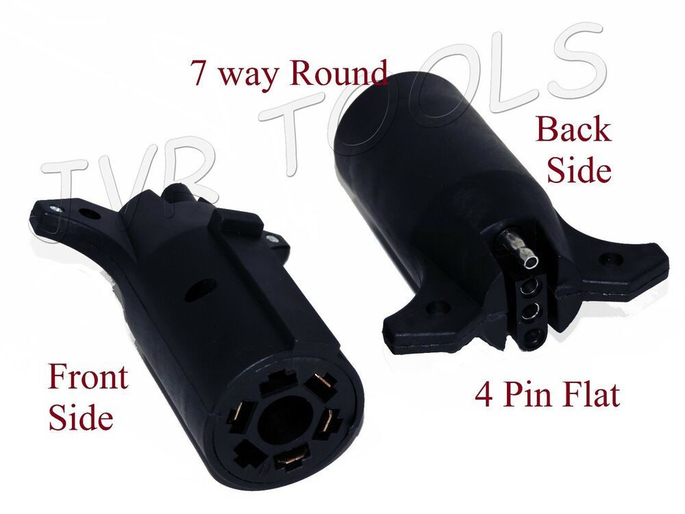 New Trailer Plug Light Adapter 7 Way Round 4 Pin Flat