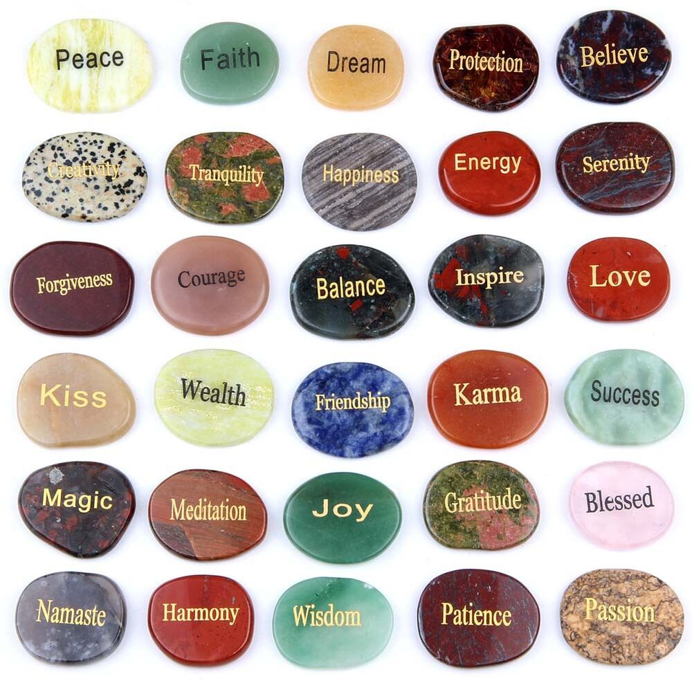 Natural Stone Names : Natural tumbled palm stone engraved words semi precious