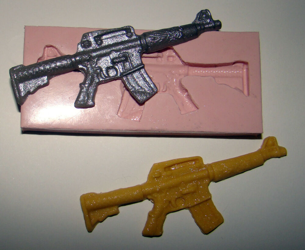 Clay Gun Cake Decorating : silicone mould call of duty army rifle icing cake cupcake ...