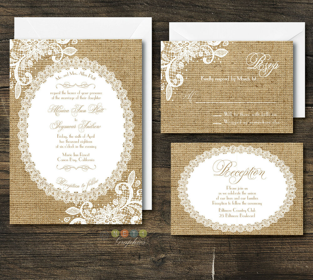 100 Personalized Rustic Burlap & Lace Wedding Invitation