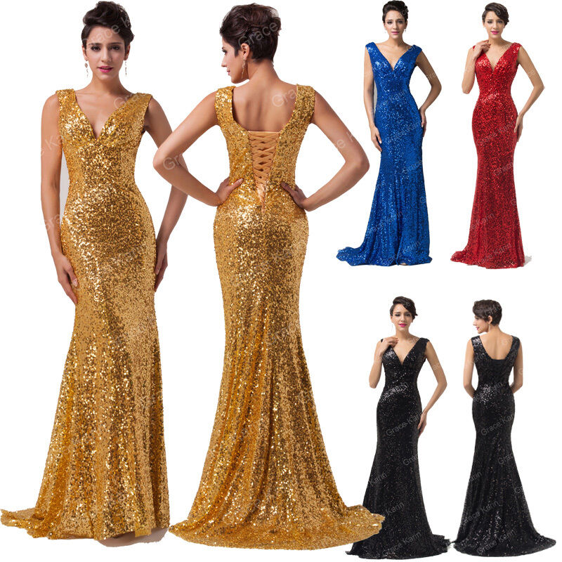Mermaid sequin long evening formal party ball gown prom for Ebay wedding bridesmaid dresses