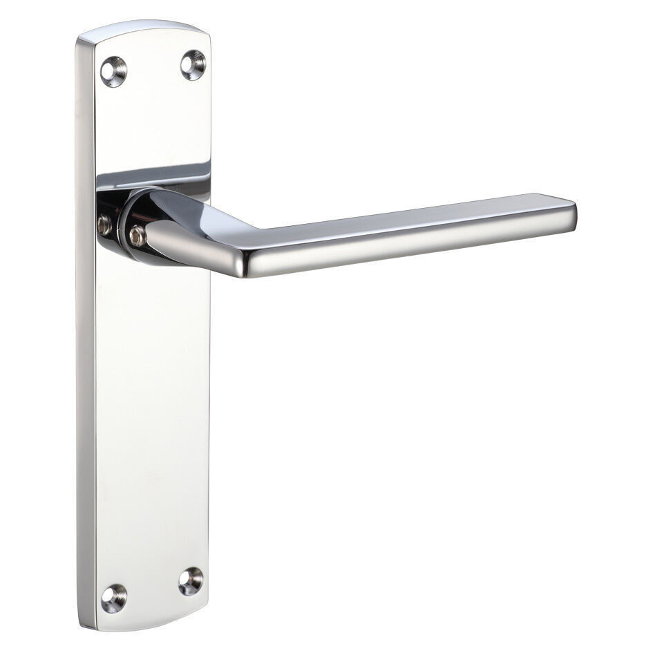 Zoo hardware leon door handle levers on backplate polished and satin chrome ebay for Interior door handles with backplates