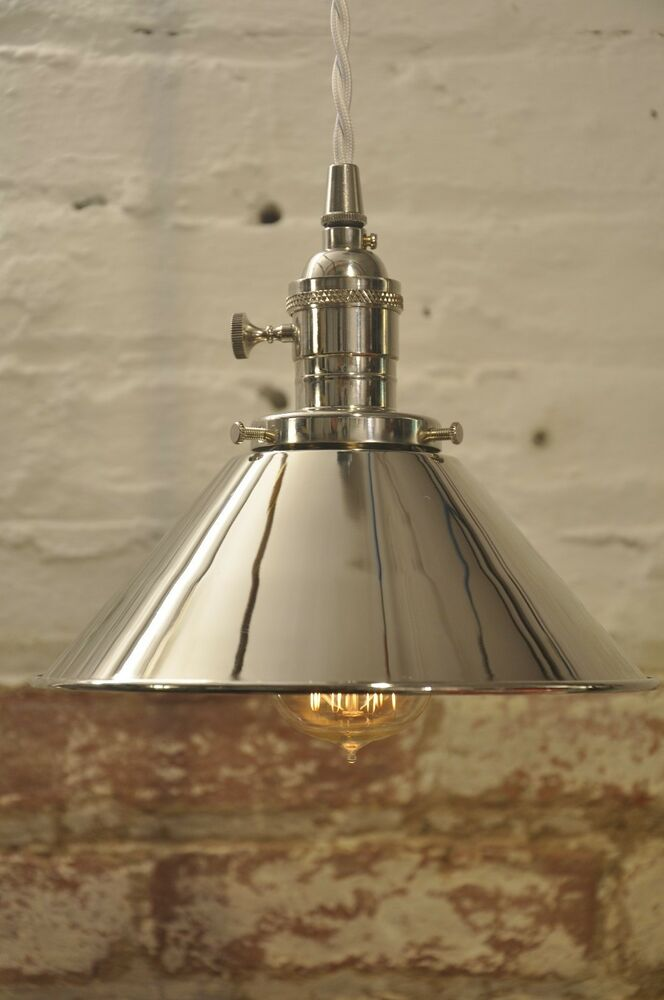 polished nickel industrial pendant light fixture rustic
