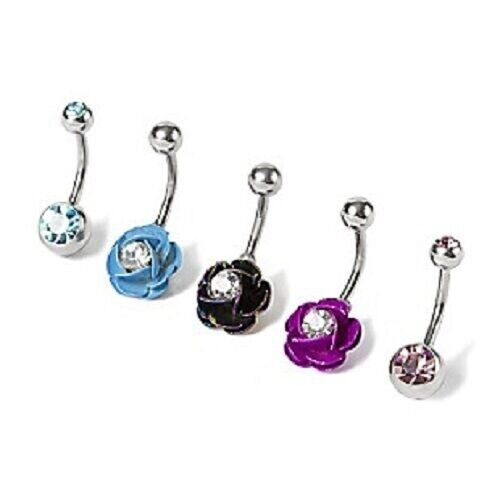 14G Crystal & Rose Navel Ring Belly Piercings Body Jewelry ...