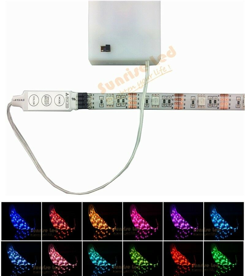 Rgb led strip lights with battery box waterproof craft for Led craft lights battery