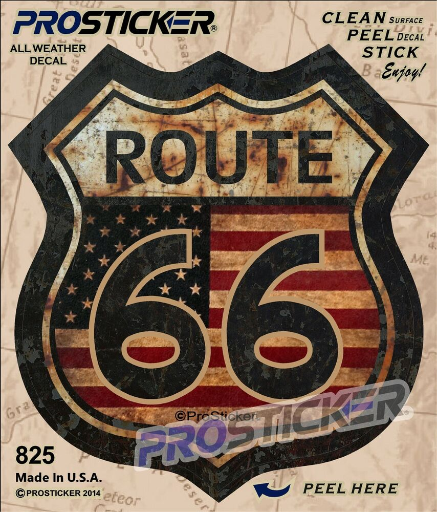 1 5 Quot Route 66 American Flag Decal Sticker Junk Yard Rat Rod Us Highway 825 Ebay