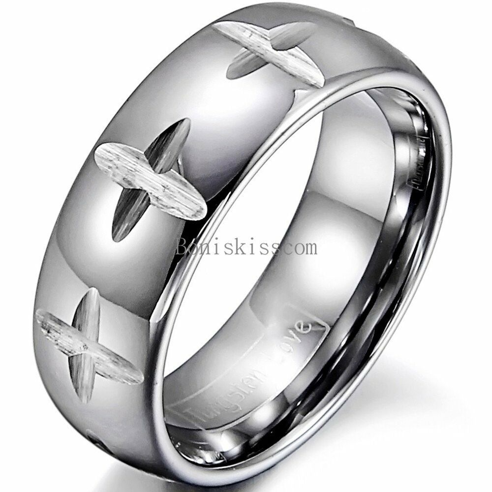 8mm Silver Tungsten Carbide Ring Multi Cross Grooved