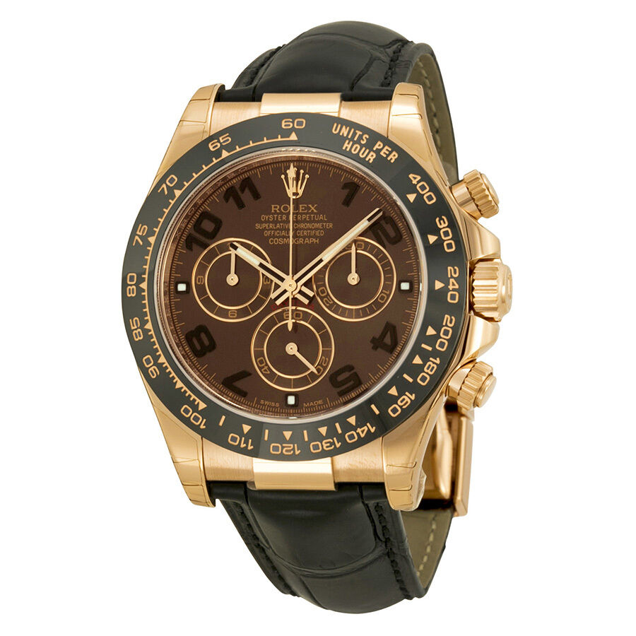 Rolex daytona chocolate automatic black leather mens watch 116515choal ebay for Watches on ebay