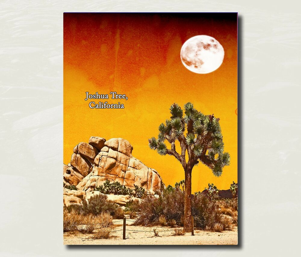 Original National Park Posters: Joshua Tree National Park Art Original Travel Poster 8x10
