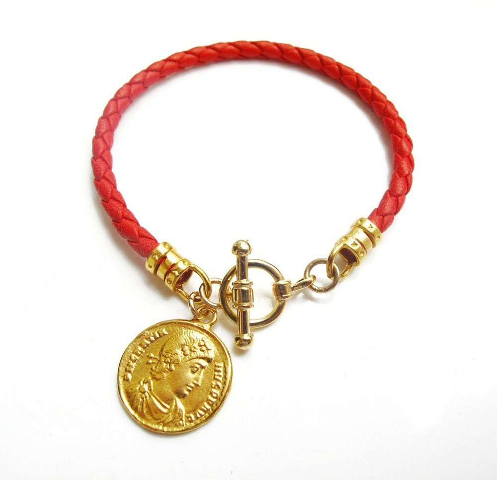 Gold Coin Roman Toggle Clasp Greek Red Braided Leather