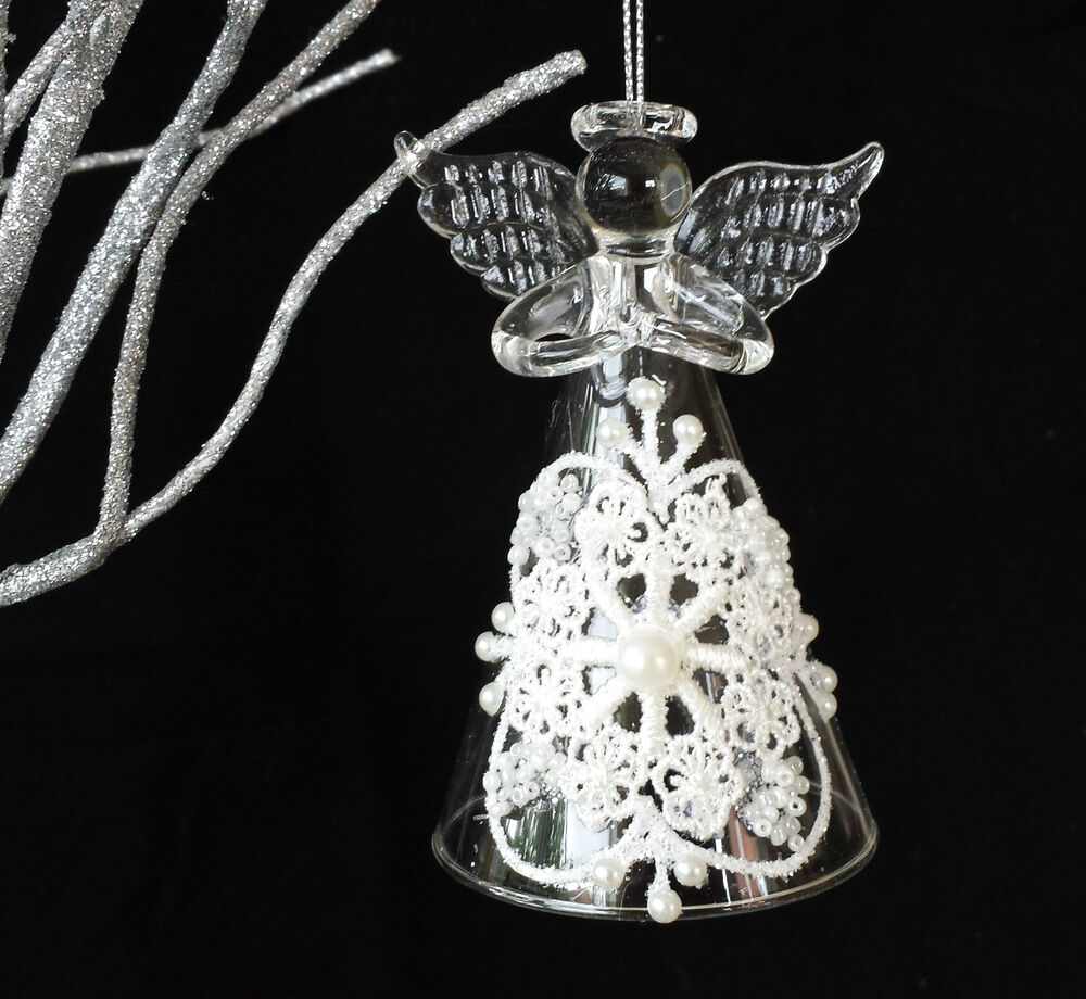 Lace glass christmas angel tree decoration guardian hanging vintage decorations ebay for Angel of the north christmas decoration