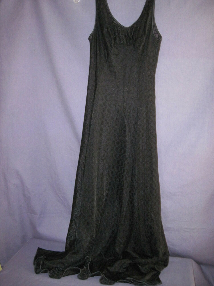 Vintage Sheer Chiffon Negligee Full Sweep Black Unique