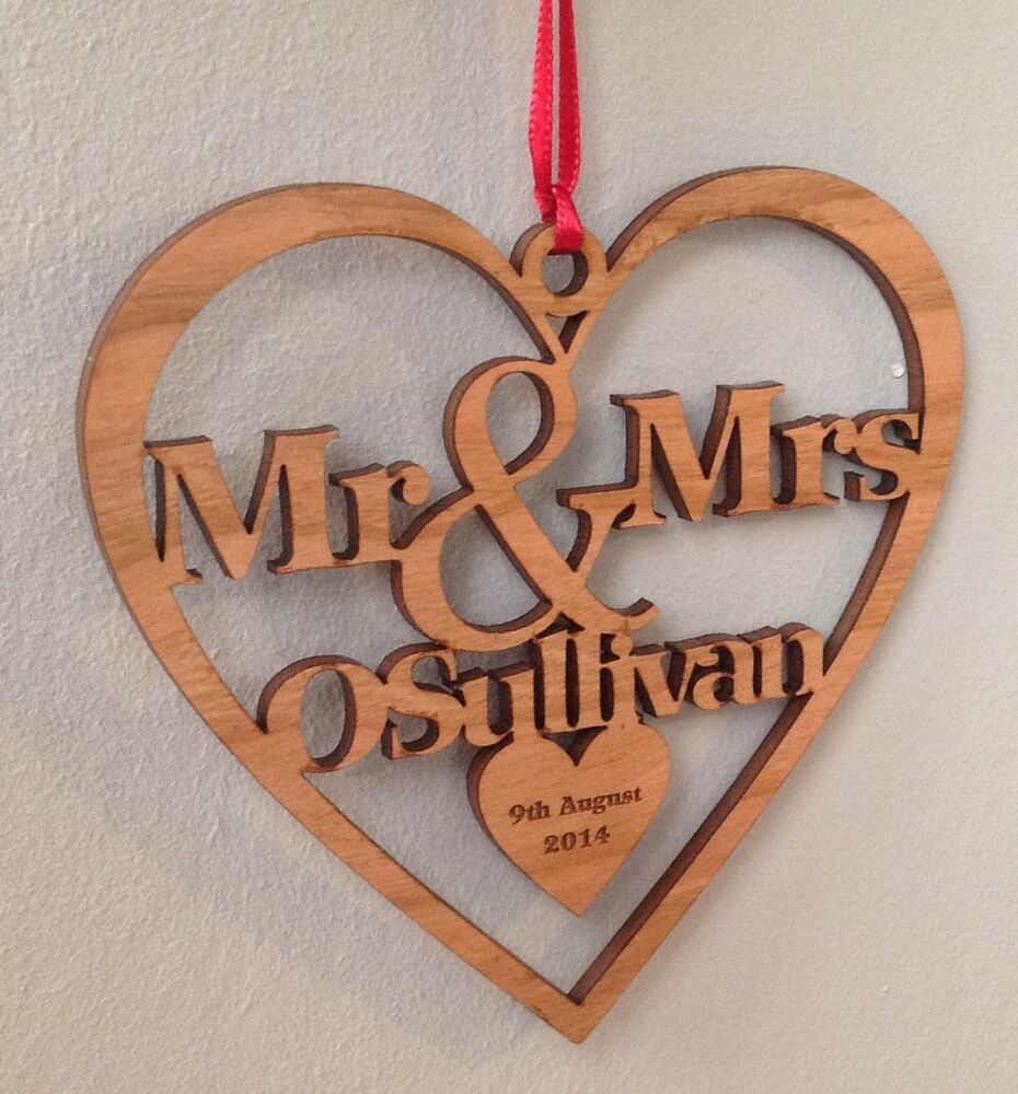 Personalised 1st christmas tree decoration wood first for Wooden christmas decorations