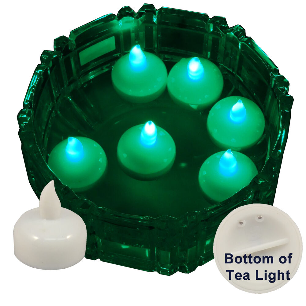 6 flameless floating led tealight candle battery operated green tea lights new ebay. Black Bedroom Furniture Sets. Home Design Ideas