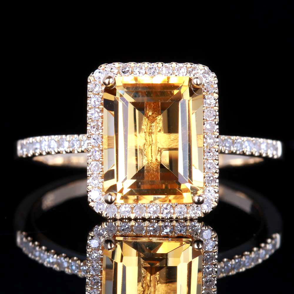Ct White Gold Citrine And Diamond Ring